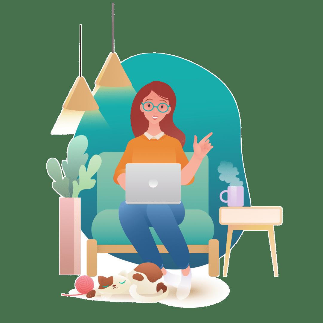 lady sitting on her laptop image