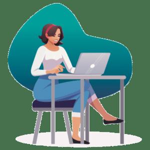 lady sitting on laptop image