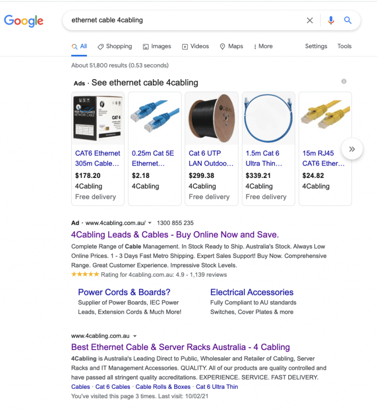 google SERP search engine results page example