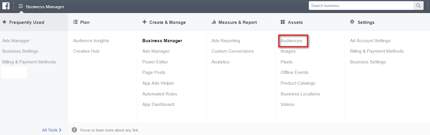Audience section within your Business Manager
