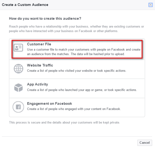 Create a Custom Audience Dialogue box