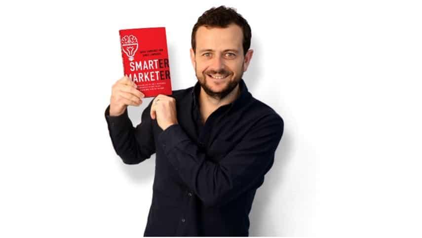 James holding Smarter Marketer